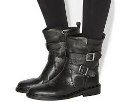 boots uk leather office indicate buckle biker boots black leather ankle boots