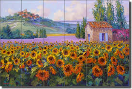 senkarik tuscan sunflowers ceramic tile mural backsplash