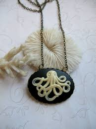 black cameo necklace images Octopus necklace black cameo brass chain botanical bird jewelry jpg