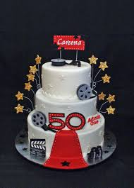 hollywood themed 50th birthday cake based on a number of great