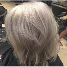 silver hair gray hair lob haircut follow me on ig stylist