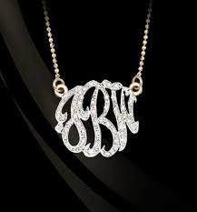 monogram initials necklace diamond monogram necklace by basch
