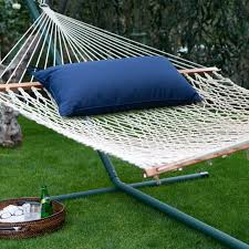 furniture backyard landcaping ideas with white cotton hammock