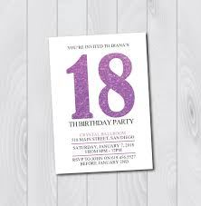 18 Birthday Invitation Card 18th Birthday Invitation Printable Purple U0026 White Birthday