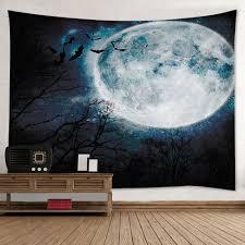 halloween wall art wall hanging art halloween moon forest print tapestry black w