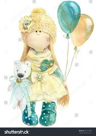 watercolor illustration cute handmade stuffed doll stock