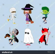 halloween kid cartoons halloween kids set cartoon children costumes stock illustration