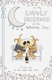 Wedding Day Greetings Boofle To My Husband On Our Wedding Day Greeting Card Amazon Co