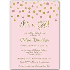 baby shower invites for girl pink and gold confetti dots it s a girl baby shower