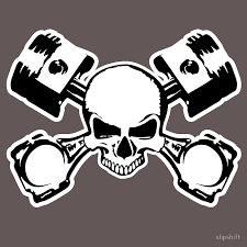 skull with pistons against motorcycle gear emblem stickers by jdm