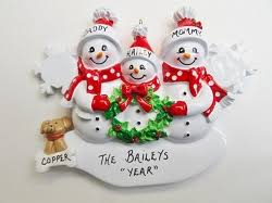 family of 3 personalized ornament with pet