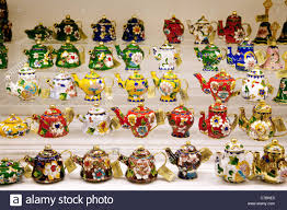 china teapots for sale as tourist souvenirs singapore asia stock