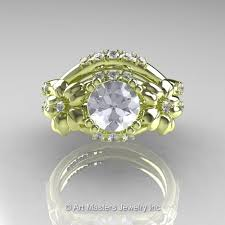leaf and vine engagement ring inspired 14k green gold 1 0 ct white sapphire leaf and