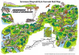 kyle map northernbooks co uk the inverness dingwall kyle souvenir rail map