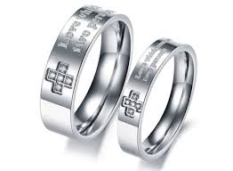 wedding rings cross images Christian titanium steel wedding bands wholesale cross promise jpg