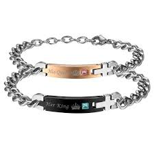 adjustable bracelet chain images Aroncent stainless steel his queen her king couple adjustable jpeg