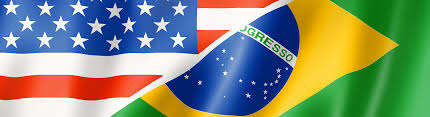 Brizil Flag Mixed Usa And Brazil Flag Three Dimensional Render Illustration