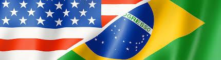 American Flag Header Mixed Usa And Brazil Flag Three Dimensional Render Illustration