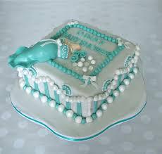 tiffany pearl and diamonds baby shower cake