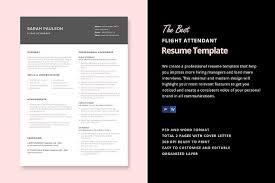 Resume Flight Attendant Flight Attendant Resume Template Resume Templates Creative Market