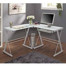 3 piece glass desk walker edison soreno l shaped glass computer desk white with frosted