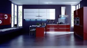modern italian kitchen design with blue wall and red cabinet