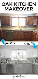 Kitchen Cabinet Makeover Our Oak Kitchen Makeover Subway Tile Backsplash White Cabinets
