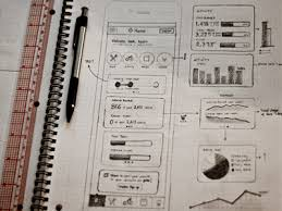sketches and digital wireframes for web apps design tickle