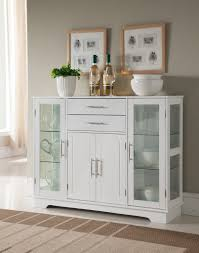 Pilaster Designs White Wood Kitchen Storage Display Cabinet - Kitchen display cabinet