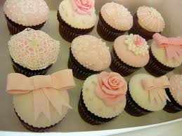 vintage style fondant cupcake toppers for an elegant baby shower