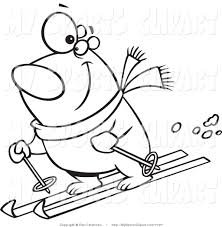 sports clip art of a black and white skiing polar bear by toonaday