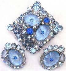 Blair Delmonico Crystal Beaded Chandelier Juliana Blue Pillowcase Glass Stone U0026 Rhinestone Pin Earring Set