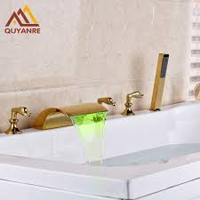 bathroom faucet with led light gold plated bathtub faucet deck mount led light changing and