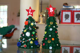 felt christmas trees lines across