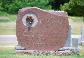 headstones and memorials berman half serp curved design with bronze tree headstone in granite