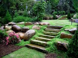landscaping on a sloped front yard backyard hillside landscape