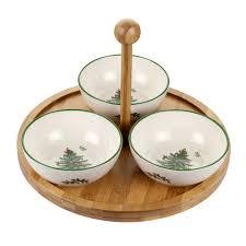 spode tree wood ceramic 4 set tray with 3