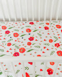 Poppy Bedding Little Unicorn Cotton Muslin Crib Sheet Summer Poppy