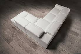 Modern White Leather Sectional Sofa by Estro Salotti Vertigo Modern White Leather Sectional Sofa W