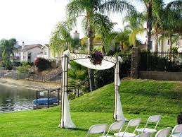 wedding arches square iron square arch with draping and flower jpg