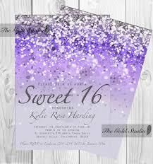 Sweet 15 Invitations Cards Customizable Purple Glitter Ombre Sweet Sixteen 16 Printable
