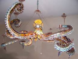 Stained Glass Light Fixtures Dining Room Tentacular Stained Glass Octopus Chandelier Would Light Up Any Room