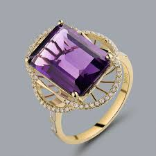 natural amethyst rings images Natural amethyst ring emerald cut 10x14mm solid 14kt yellow gold jpg