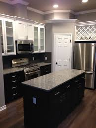 white upper cabinets with espresso lower cabinets love the