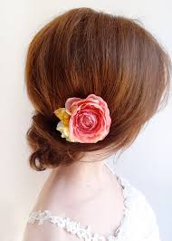 flower for hair coral flower for hair bridal hair clip flower girl hair