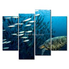 3 piece blue wall art painting sea turtle underwater picture print