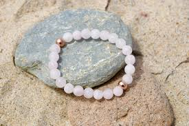 rose bead bracelet images Rose quartz golden bead bracelet accessorytopia jpg