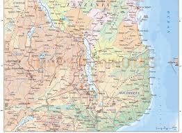 Map Of Tanzania Tanzania Digital Vector Political Road U0026 Rail Map With Land And