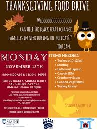thanksgiving food drive bodwell center for service and volunteerism