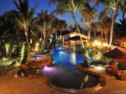 outdoor lighting around pool round designs